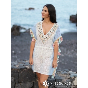 Kaftan Viviana - Cotton lace caftan, bicolor, with fringed pom pom and sequins embroidery and rhinestones.