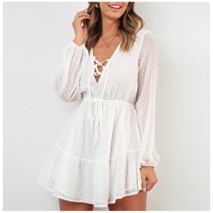 White Party Chiffon Lace Up Dress w/ Dotted Texture
