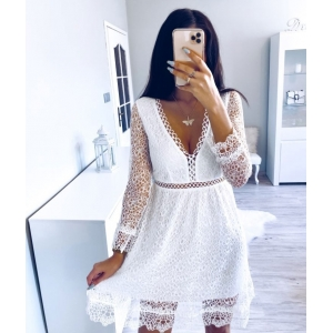 White Lace Embroidery Flare Sleeve Dress