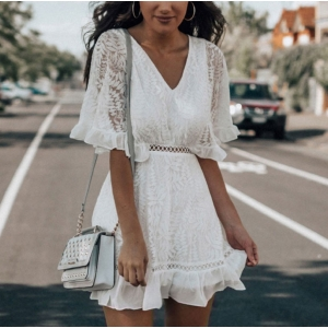 White Embroidered Hollow Out Split Back Mid Sleeve Dress