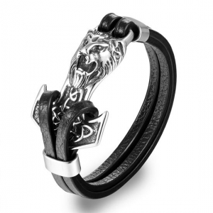 Anchor Lion Stainless Steel Leather Bracelet