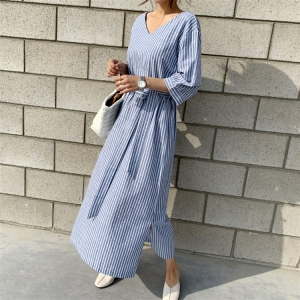 Cotton Stripped Casual V Neck Long Dress