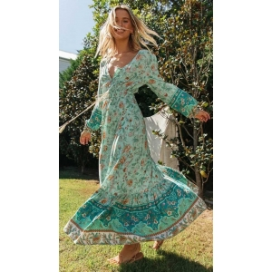 Mint Green Boho Inspired Floral Printed Maxi Dress