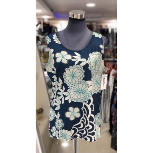 Blue Sleeveless Top with Green Flowers
