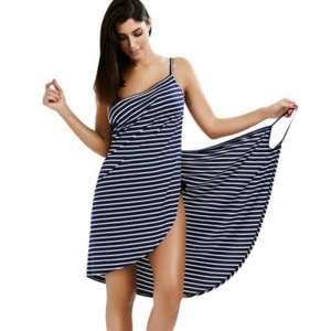 Backless Summer Striped Wrapon Dress