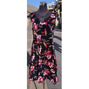 Eli New York Navy Dress with Hibiscus Red Flowers