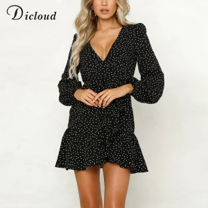 Long Sleeve Polka V Neck Short Dress