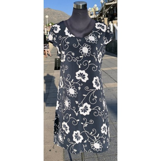White Floral Pattern Print Dress