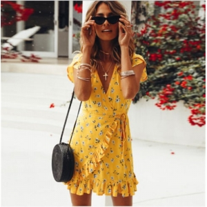 Yellow Floral Wrap Dress with Frills
