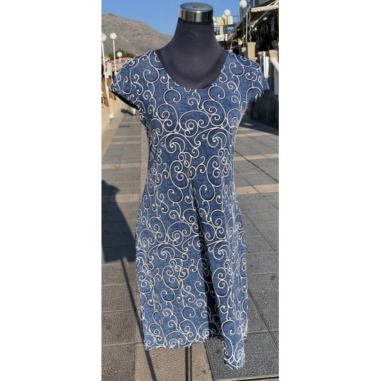 White Circular Pattern Print Dress