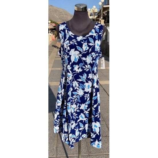 White & Blu Floral Sleeveless Dress