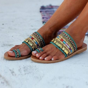 Greek Style Artisanal Sandals Bohemia Slip-On Slides