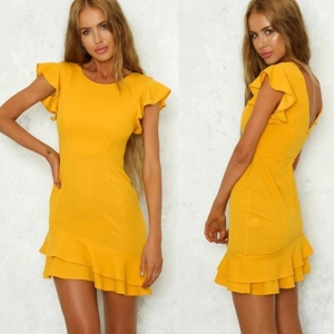 O-Neck Double Ruffles Short Sleeve Bodycon Dress