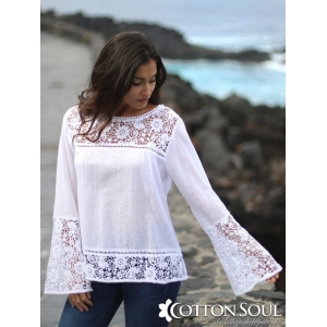 Charlotte - White Flared Lacy Top