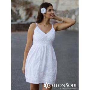 Angeletta - Vestido corto de algodón con tiras regulables, encaje y bordado