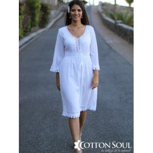Sheryl - Vestido de algodón con manga 3/4, bordado bicolor y encaje.