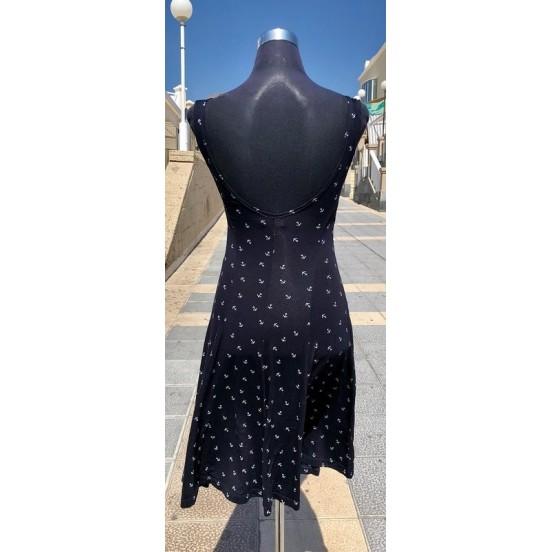 Small Anchors Navy Sleeveless Dress