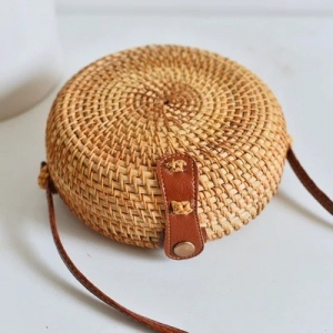 Handwoven Round Plain Rattan Bag