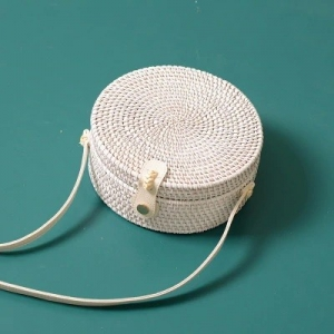 Handwoven Round Rattan White Plain Bag