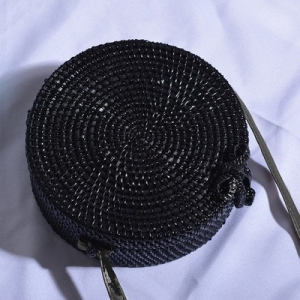 Handwoven Black Round Rattan Plain Bag
