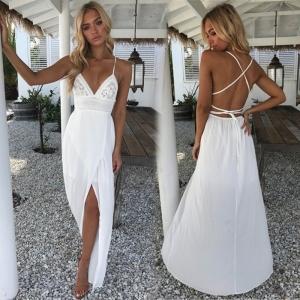 Vestido Blanco Bohemio cuello V largo