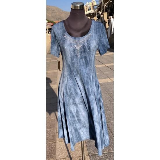 Shinny Collar Jean Print Dress
