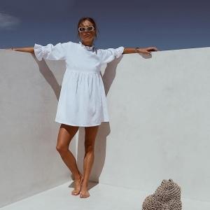 Vestido blanco estilo Boho con manga volante