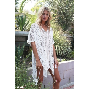 Netted Beach Coverup V Neck Tunic