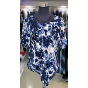 Blue Flower Short Sleeved Front Knot Top