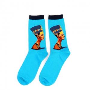 Queen Nefertiti Blue Printed Socks