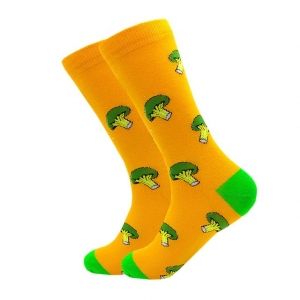 Broccoli Yellow Printed Socks