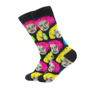 Albert Einstein Colourful Heads Printed Socks