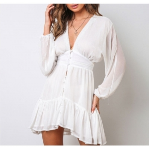 White V Neck Plunge White Dress with Lace Border