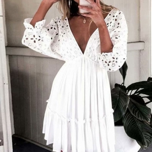 White V Neck Hollow Circle Plunge Dress