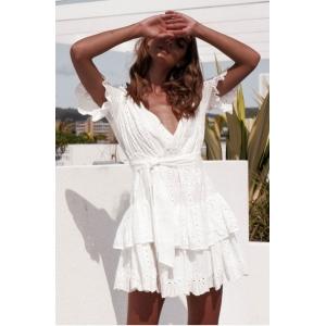 Vestido Blanco Corto Cruzado con Círculos
