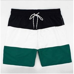 Blue White Green Bands Swim Shorts for Men