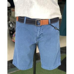 Shorts azules elásticos punteados con efecto denim