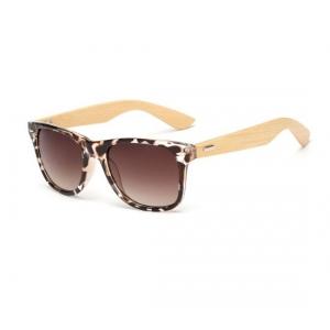 Leopard Print Bamboo Wayfarer UV400 Sunglasses