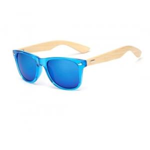 Gafas montura azul de bambú UV400 Wayfarer