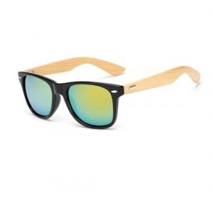 Golden Mirror Effect Bamboo Wayfarer UV400 Sunglasses