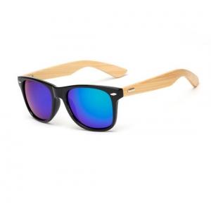 Gafas lentes azul mosca de bambú UV400 Wayfarer