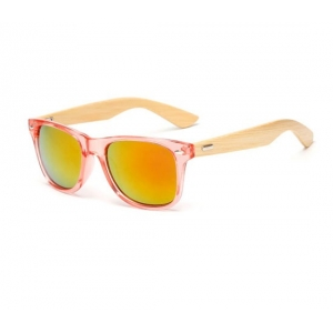Gafas con lentes y montura rojo fuego de bambú UV400
