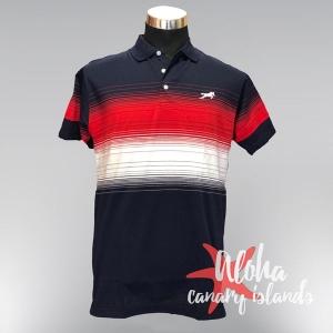 Hugo Samuel Red White Blue Gradient Polo