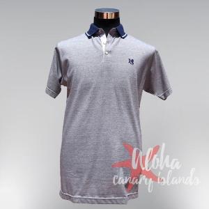 Hugo Samuel Fine Lines Blue Cotton Polo