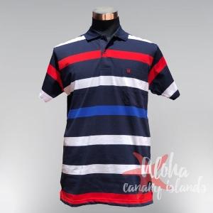 Polo de rayas horizontal en rojas, blancas y azules de Hugo Samuel