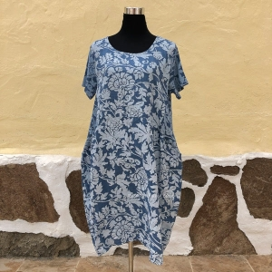 Floral Printed Linen Tunic Dress
