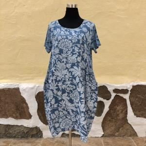 Vestido túnica de lino con estampado floral