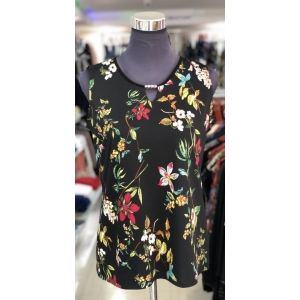 Black Garden Flowers Sleeveless Top