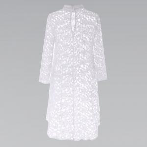 Camisa tunica blanca larga de encaje floral