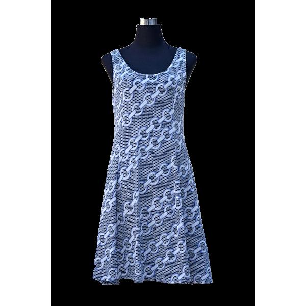 Blue Chain Link Pattern Sleeveless Dress